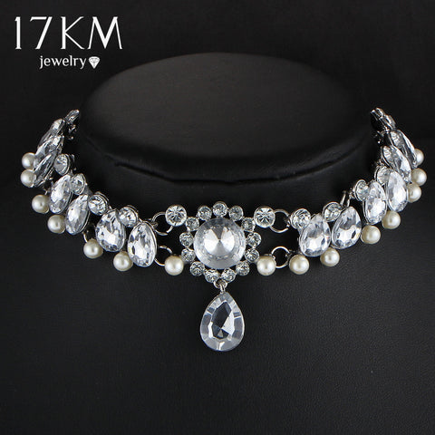 necklace - Fashion accessories ,clothing, jewelry, 17KM Boho Collar Choker Water Drop Crystal Beads Choker Necklace &pendant Vintage Simulated Pearl Statement Beads Maxi Jewelry - clothing, Gorgeous things online - gorgeous things online