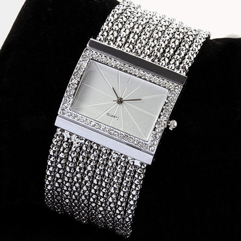 2015 Latest New Fashion Quartz Women's Silver Tone Band Rhinestone Bangle Bracelet Watch  6T4T