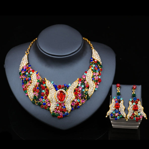LAN PALACE high quality necklace set for women dubai gold plated jewelry wedding  necklace and earrings six colors free shipping