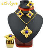 Ethlyn Party Wedding  Ethiopian Cross jewelry sets 22k gold plated  fashion  stone cross sets  for African Traditional Festival