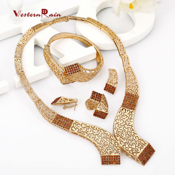 WesternRain 2017 Free Shipping Big Brown Rhinestone Charm Necklace Earrings Women Beauty  Gold Plated African Jewelry Sets  A336