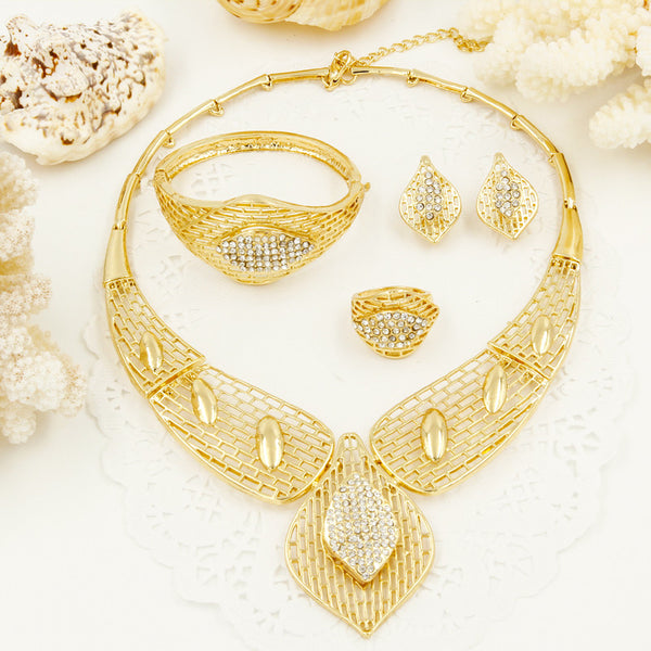 2017 CZ Sales! Free Shipping New Arrival Big Necklace Earrings Sets Fashion Dubai African Gold Plated Jewelry Sets free shipping