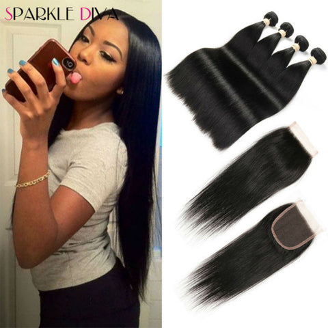 4 Bundles Straight Hair With Closure 8A Peruvian Straight Virgin Hair With Closure Human Hair Peruvian Virgin Hair With Closure