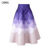 ORMELL Long Skirt 2016 Winter Women Fashion Elastic High Waist Vintage Scales Printed Pleated Skirt Top Quality