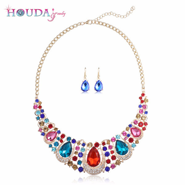 HOUDA Fashion Crystal Necklace & Earrings for Party 3 Colors Choker Dubai African Beads Parure Bijoux Femme A0011 Jewelry Sets