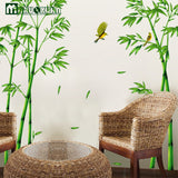Large Size Bamboo Birds Tree DIY Vinyl Wall Stickers Home Decor Kids Rooms Art Decals 3D Wallpaper Decoration Adesivo De Parede