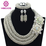 Silver African Beads Jewelry Set 2017 Nigerian Wedding African Beads for Brides Party Bridal Jewelry Set Free Shipping WB913