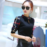 Fashion New Arrival Women's Clothing Brand New Long Plaid Sleeve Stand Collar Black Red Green Maxi Size Blouses Lady's Shirts