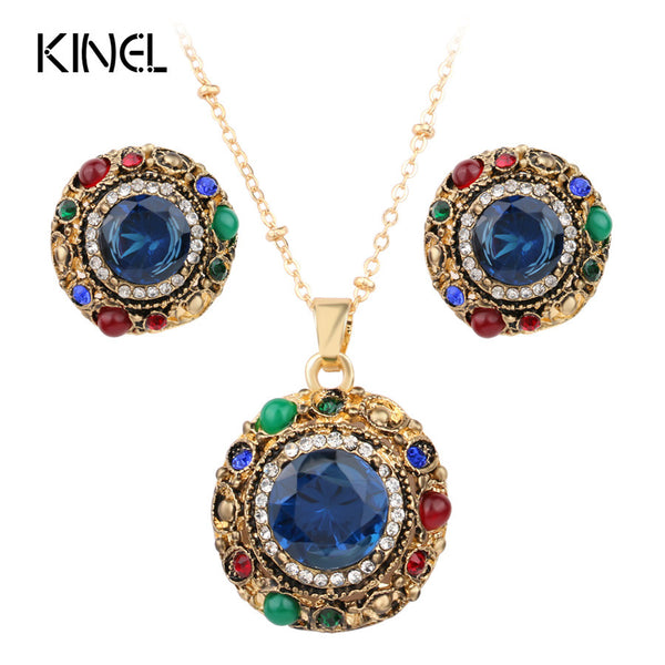- Fashion accessories ,clothing, jewelry, 2017 Bohemian Jewelry Sets Dubai Gold Plated Tibetan Alloy Round Pendant Necklace And Drop Earrings Wedding Jewelry - clothing, Gorgeous things online - gorgeous things online