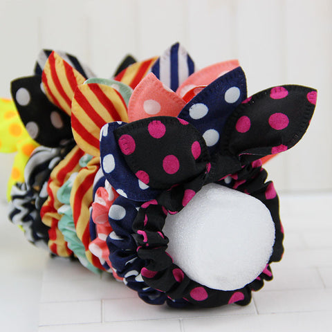 12pcs/lot Original Head Flower Hair Accessories Headdress Korea Trinkets Rabbit Ears Fabric Polka Dot Rubber Band Hair Rope Ring