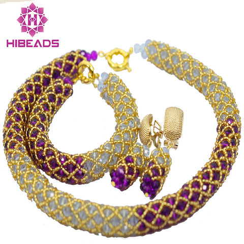 jewelry set - Fashion accessories ,clothing, jewelry, 2016 Popular Purple Lilac African Wedding Beads Crystal Necklace Jewelry Set BridalGold Plated Jewelry Set Free Shipping AIJ479 - clothing, Gorgeous things online - gorgeous things online