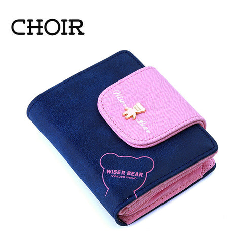2016 Brand New Lovely Bear Wallet Female Leather Small Change Clasp Purse Money Coin Card Holder Carteras Girl wallets Portfolio