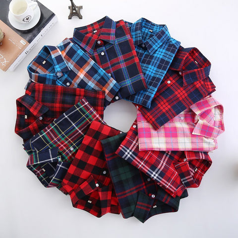 2017 New Women Blouse Plaid Shirt Female Long Sleeve Flannel Shirts Casual Style Plus Size 5XL Women Tops Chemisier Clothing