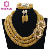 jewelry set - Fashion accessories ,clothing, jewelry, 2017 Hot Nigerian Beads Necklace Handmade Braid Beads African Jewelry Set Gold Bridal Lace Jewelry Sets Free Shipping ABF360 - clothing, Gorgeous things online - gorgeous things online