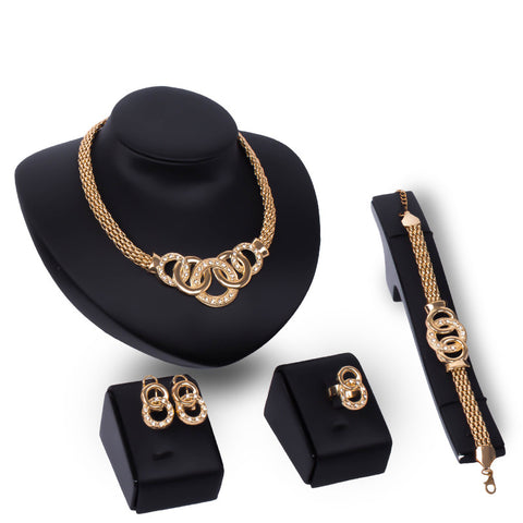FUNIQUE Bridal Jewelry Sets Nigerian African Beads Collar Statement Necklace Earrings Ring Bracelet Women Wedding Jewelry Sets