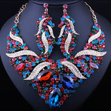 Wedding jewelry Gold plated Full crystal rhinestone statement necklace set Classic African bridal jewelry sets