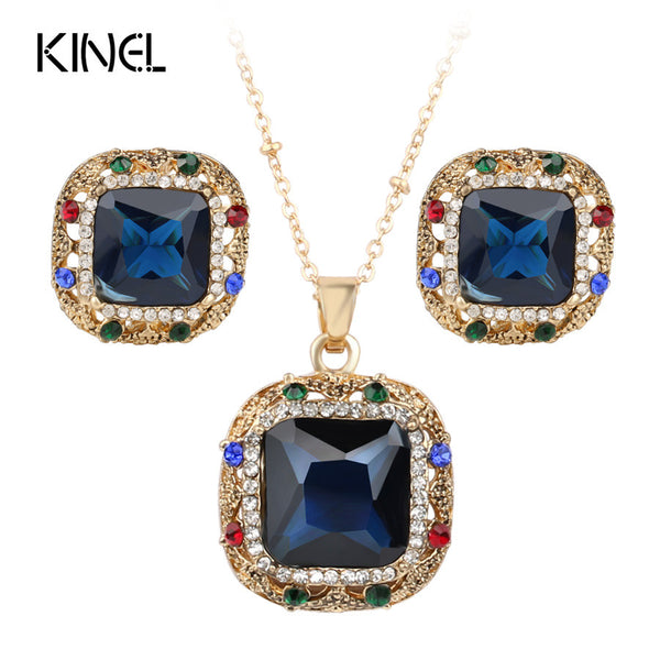 2Pcs Vintage Jewelry Colorfull Crystal Square Earrings And Necklace For Women Nigerian Wedding African Beads Jewelry Set