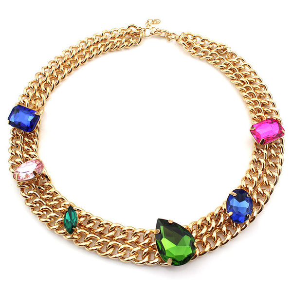Luxury Crystal Necklace European and American Fashion Exquisite Link Women's Necklace For Party New Arrival