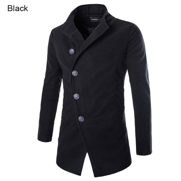 New Fashion Brand 2015 Winter Men Wool Jacket Coat Stand Collar Single Breasted Solid Casual Long Men Overcoat  M-XXL