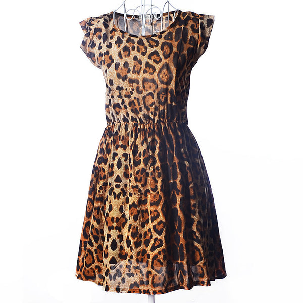 Sexy& Club! 2015 New Summer Leopard Mini Women Dress Free Shipping O-Neck Short Sleeve Female Dress Drop Shipping