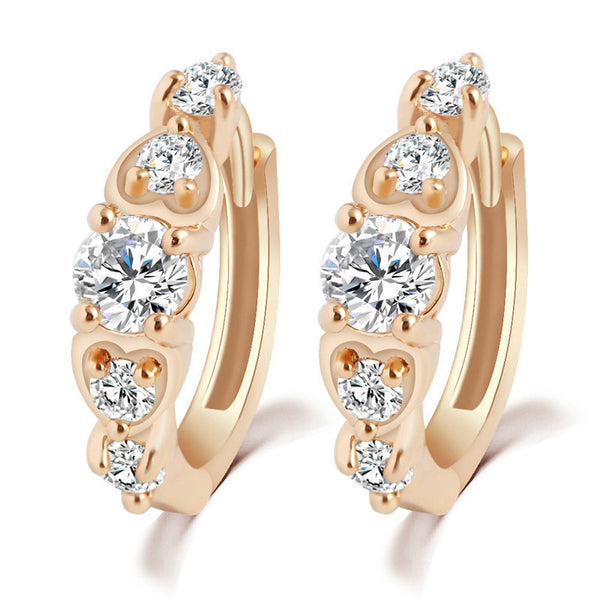 Simple Wild Fashion Trend Crystal Buckle Earring Studs Zircon Design Gold-Plated Ring for Women