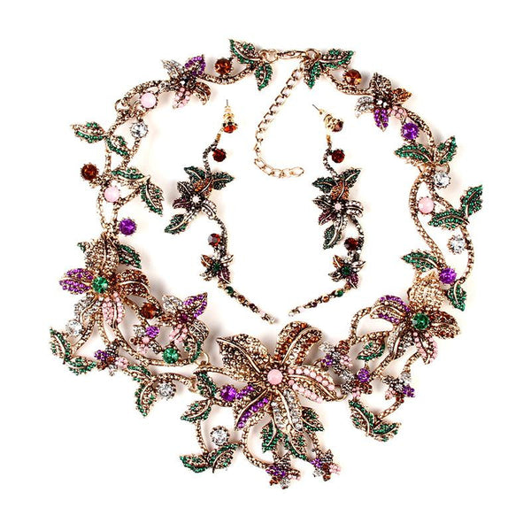 Luxury Multicolor Flowers Jewelry Sets 2016 Women Fashion Long Earrings Crystal Rhinestone Beads Metal Statement Necklace XG1297