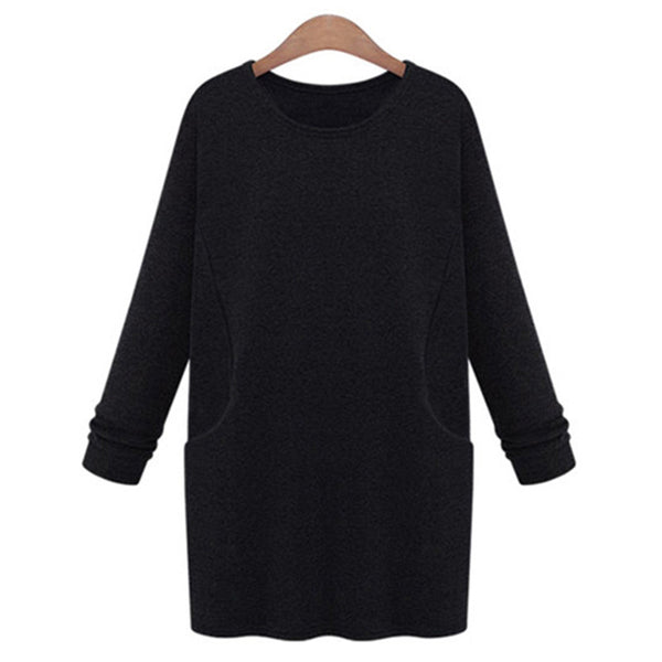 Women Dress 2016 Top Fashion Long-sleeve Thickening Pure Color Dress Black/Deep Gray