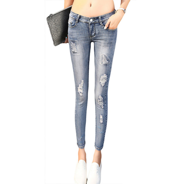 2016 Hot Sale Women Jeans Ankle-length Pencil Pants Fashion Hole Ripped Femme Denim Pants Skinny Mid-waist Female Trousers