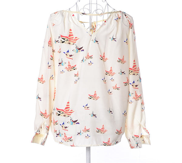 2016 New Brand Summer Women T-shirt Birds Printed Long Sleeve V-neck Chiffon Tops Casual Slim Fit Loose Tees Camisas Femininas