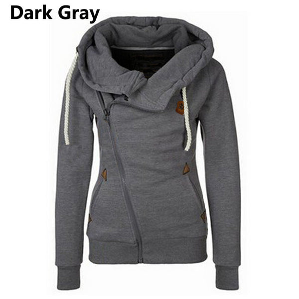 Winter Autumn 2016 Fashion Women Hoodies Long Sleeve Hooded Jacket Loose Warm Inclined Zipper Design Sweatshirt Women Sudaderas