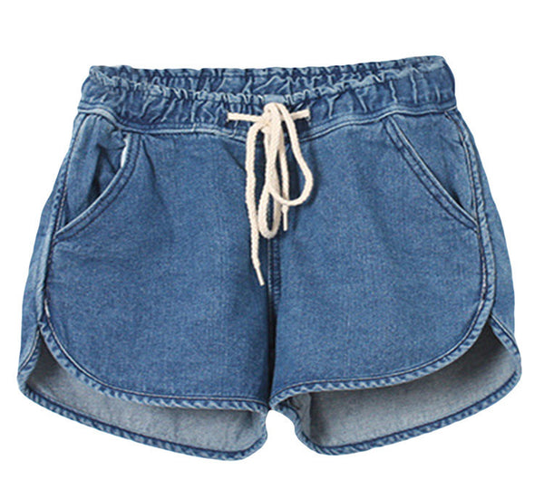 Korean Style Women Summer Drawstring Shorts Mid-waist Denim Shorts Hot Sale Casual Loose Female Shorts Pure Color