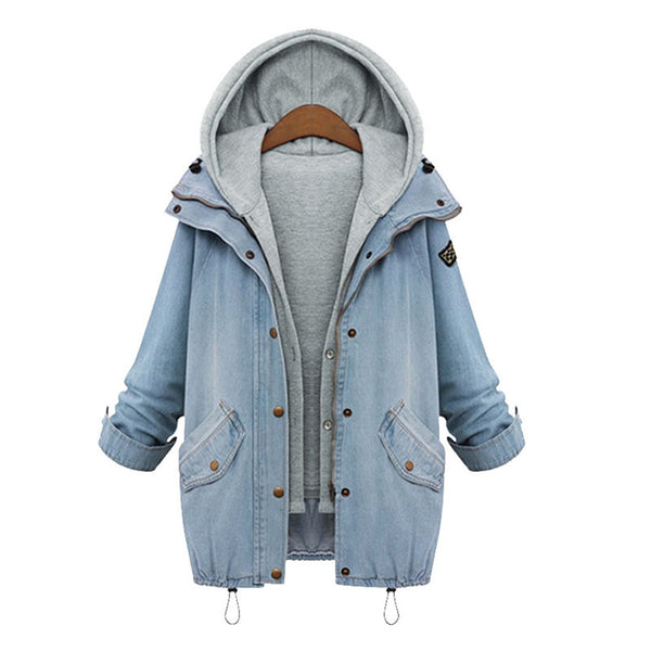2016 Srping Autumn Jacket women Two Piece Set Denim Jacket With Hoody Oversized Casual Women Coats Outerwear Vintage Ropa Mujer