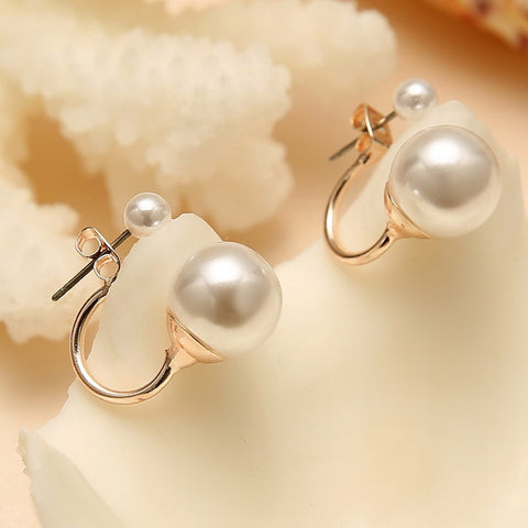2016 Fashionable Double Pearl Earrings Double Sided Wear Pearl  Earrings Gift Wholesale