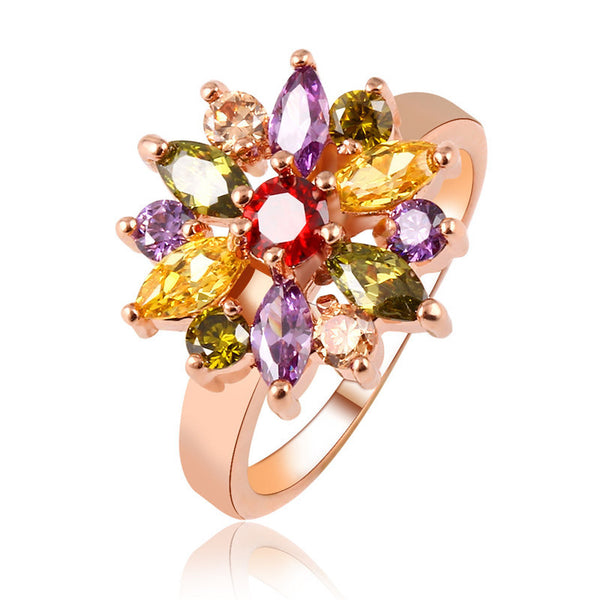 2016 Fashion Multicolor Gem  Ring For Women  Wedding Romantic 18k Gold Plated Crystal Rings Female Jewelry