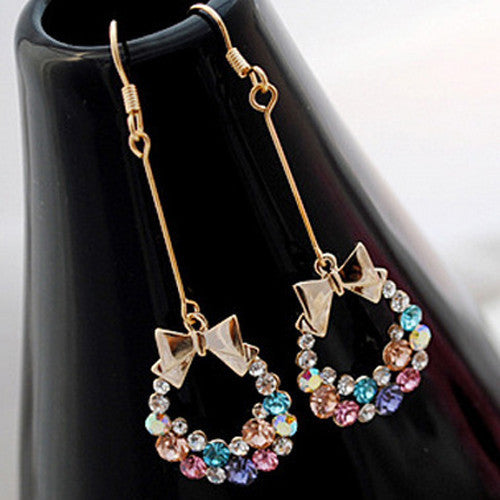 New Fashion Colorful Crystal Rhinestone Gold Bowknot Bow Ear Stud Charm Earrings Jewelry Gift