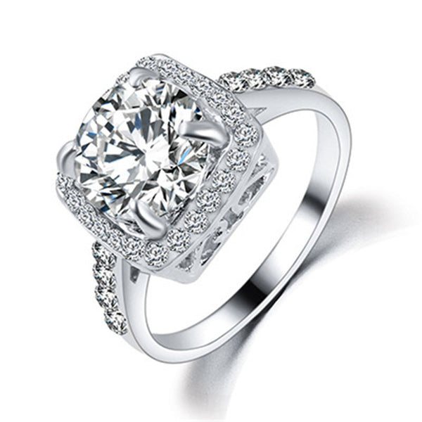 New Arrival Square Shape Zircon Ring Wedding Engagement Bridal Luxury Charm Rings  for women