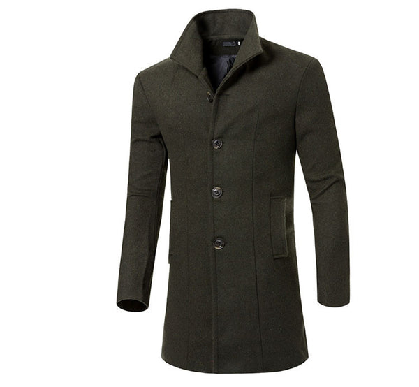 Fashion Brand Winter Mens Wool Jacket Single Breasted Slim Fit Solid Men's Wool Coat Men Long Overcoat Size M-3XL