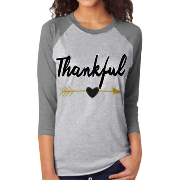 Women Blouse Tee Thankful Letter Printing Arrow Printed Three Quarter Sleeve Splicing Top Shirt Casual Gray Women Hoodie