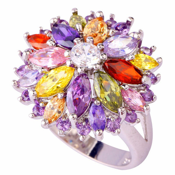 Flower Design Lingmei Wholesale Peridot Garnet Citrine Amethyst Multi-Color Silver Ring Women Jewelry Ring Size  7 8 9 10