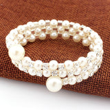 New Fashion Women's  Bangle 2016 Wedding Bridal White Faux Pearl Rhinestone 3 Rows Stretch Elastic Bangle Bracelet