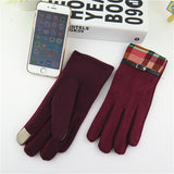 New Fashion Thickening Girls Warm Gloves Novelty Winter    Stitching design Outdoor Touch Screen Gloves 4 Colors