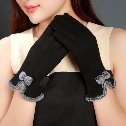New 2016 Women Gloves Winter Fleece Fitness Guantes Mujer Female Ladies Girls Touch Screen Wrist Mittens Bow Decorate Gloves