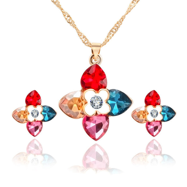 Europe and America Clover Crystal Necklace Earrings Combination Suit Hot Sale three-piece female Jewelry Set