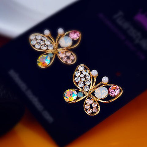 Fashion Jewelry New Earring Studs Pearl Hollow Butterfly Earrings  Temperament Earrings for Girls Gift