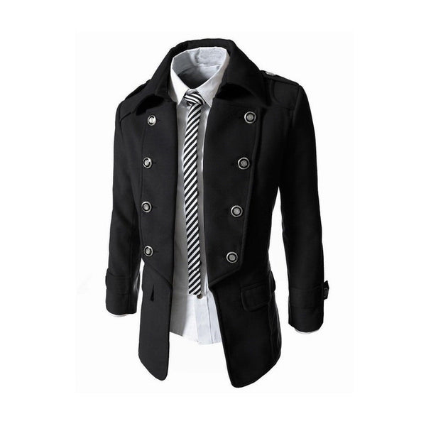 Hot 2015 New Fashion Casual Slim Fit Stylish Men's Wool Coat Double Breasted Men Suit Jacket Quality 3 Colors Solid Men Outwear