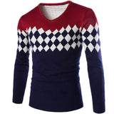 New Fashion Design 2015 High Quality Casual Plaid Men Pullovers V-Neck Autumn Warm Sweater Casual Long Sleeve Men Sweaters
