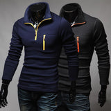 New Hot Sale Spring&Autumn Leisure Polos Men Korean Style Long Sleeve Slim Contrast Color Patchwork Polo masculina Black Navy