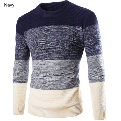 New Winter Fashion 2015 Male Sweater Pullovers O-Neck British Slim Pullover Knit Sweaters Patchwork Casual Long Sleeve Sweater