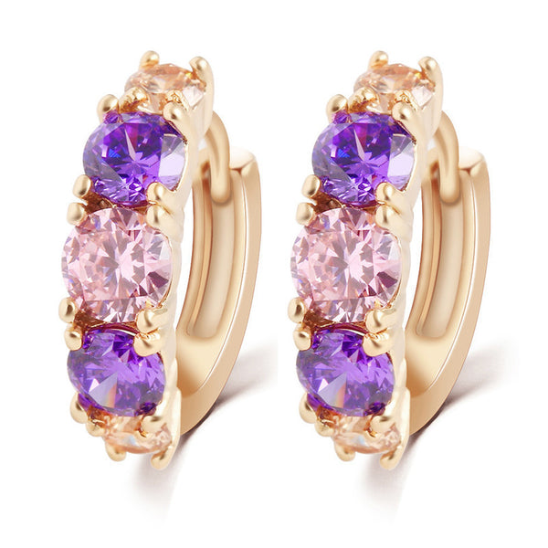 Fashion 2016  Alloy Gold-Plated Purple Crystal Jewelry Earring  Romantic Round Zircon Earrings For Women