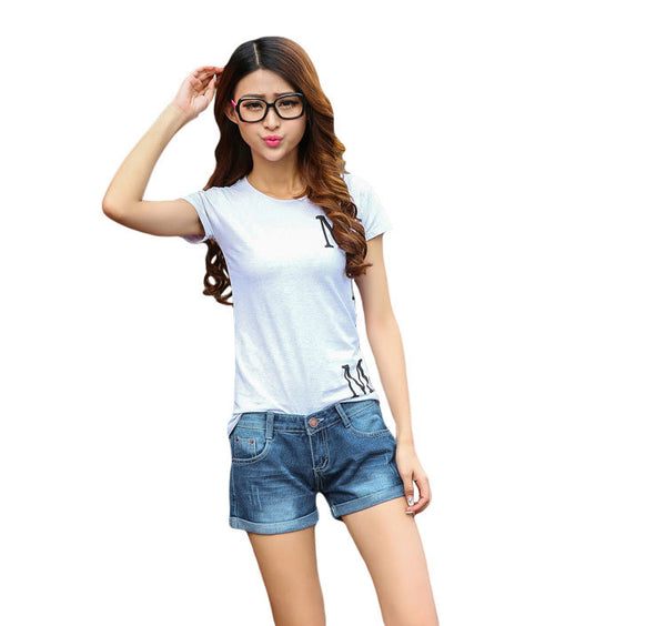 Hot Sale Fashion Women Short Summer Casual Korean Type Jeans Shorts Slim Fit Curling Denim Shorts Female Mid-waist short Pants